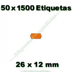 50 Rollos 1500 Etiquetas 26 x 12 mm ondulada naranja flúor