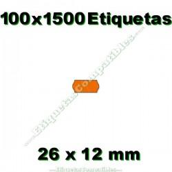 100 Rollos 1500 Etiquetas 26 x 12 mm ondulada naranja flúor