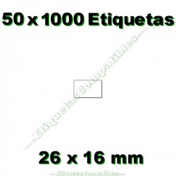 50 Rollos 1000 Etiquetas 26 x 16 mm recta blanco