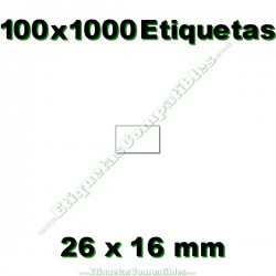 100 Rollos 1000 Etiquetas 26 x 16 mm recta blanco