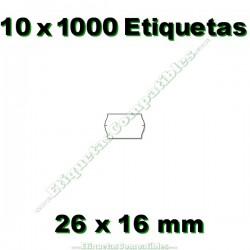 10 Rollos 1000 Etiquetas 26 x 16 mm ondulada blanco