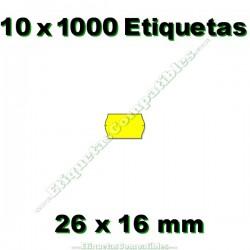 10 Rollos 1000 Etiquetas 26 x 16 mm ondulada amarillo flúor