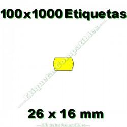 100 Rollos 1000 Etiquetas 26 x 16 mm ondulada amarillo flúor