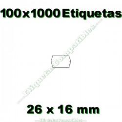 100 Rollos 1000 Etiquetas 26 x 16 mm ondulada blanco