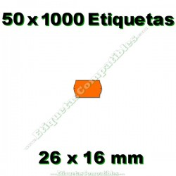 50 Rollos 1000 Etiquetas 26 x 16 mm ondulada naranja flúor
