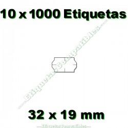 10 Rollos 1000 Etiquetas 32 x 19 mm ondulada blanco