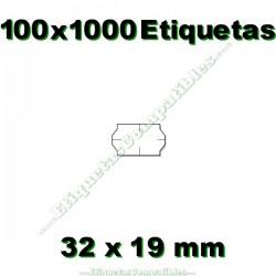 100 Rollos 1000 Etiquetas 32 x 19 mm ondulada blanco